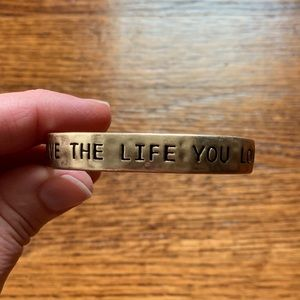 "Gold Toned ""Live The Life You Love"" Cuff Bracelet"